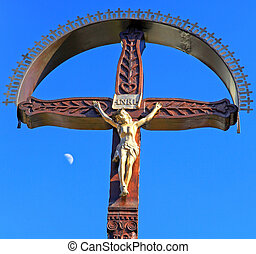 Jesus Christ on the cross and blue sky