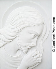 jesus christ on white marble tombstone