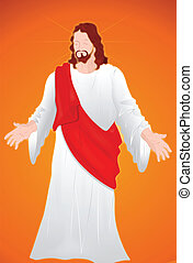 Art of Jesus Christ Isolated on Red Background Portrait Vector Illustration