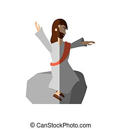 jesus christ preach pray shadow vector illustration eps 10