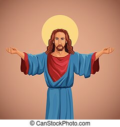 jesus christ religious image blessed vector illustration eps...
