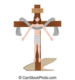 jesus christ sacred cross vector illustration eps 10