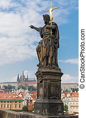 Jesus Christ statue on the Charles Bridge in Prague (Czech Repub