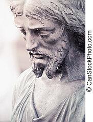 Jesus Christ statue (styled vintage, fragment)