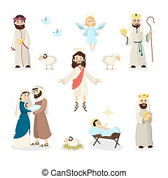 Jesus Christ story. - Jesus Christ story illustration with...