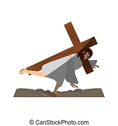 jesus christ third fall via crucis shadow