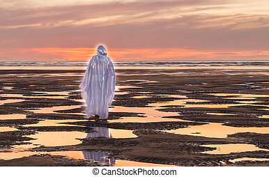 Jesus Christ Tide - Jesus Christ walking at a beach at Low ...