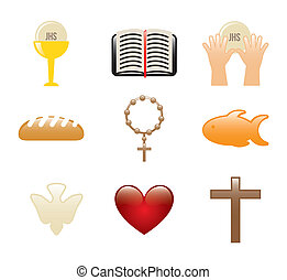 jesus christ icons over white background. vector...