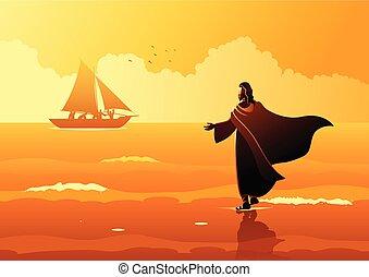 Biblical vector illustration series. Jesus walking on water