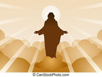 Jesus Christ with light and cloud backward mean begin of hope, belief and faith, vector illustration
