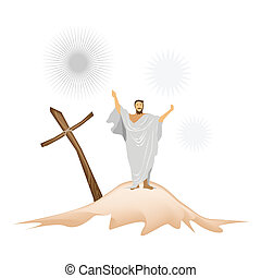 Jesus Christ with Wooden Cross on A Mountain - An...