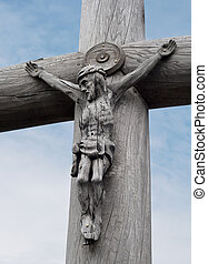 Jesus Christ's sculpture on mountain of crosses in Lithuania