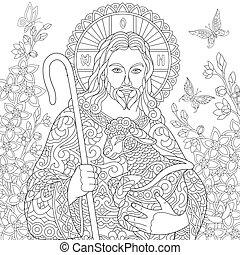 jesus christus, mit, a, lamm
