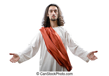jesus christus, personifacation, vrijstaand, op, de, witte
