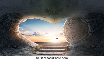 jesus, concept:, bakgrund, soluppgång, kors, påsk, tom, grav, kristus
