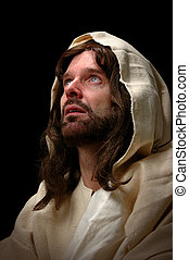 Jesus cried. Represented by portrait of Jesus looking into heaven and shedding a tear.