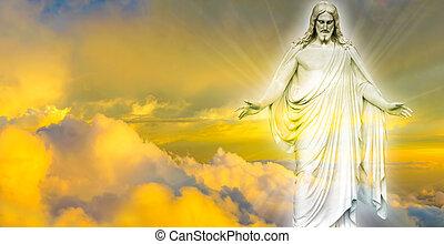 jesus cristo, em, céu, panorâmico, im