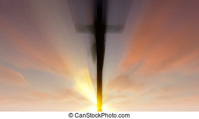 Jesus cross against beautiful sunrise,