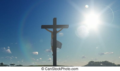 Jesus cross against blue sky, zoom out