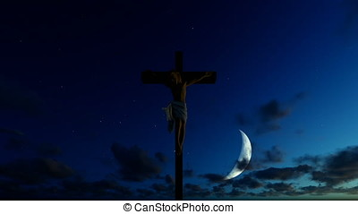 Jesus cross against half moon starry blue sky