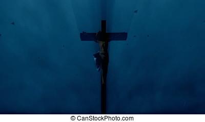 Jesus cross against stormy sky and lightnings,