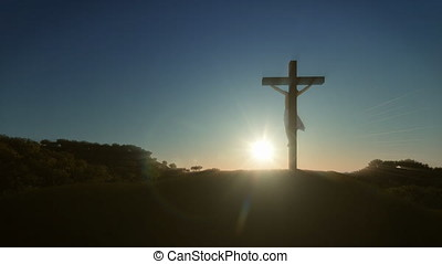 Jesus cross at sunrise, 4K