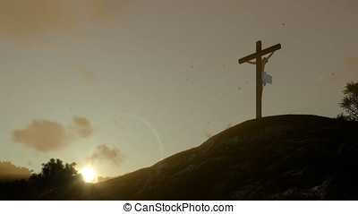 Jesus cross at sunset, panning