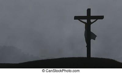Jesus cross, night storm with lightnings