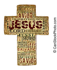 Jesus - Cross With Religious Words on white background.
