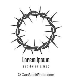 Jesus Crown of Thorns logo. Spirituality religious, holy encouraging, vector illustration