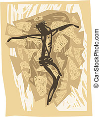 Jesus crucified - Illustration in engraved style of the ...