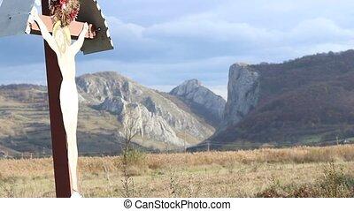 Jesus Crucifix near Field