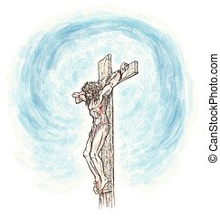 jesus crucifix watercolor hand draw. illustration
