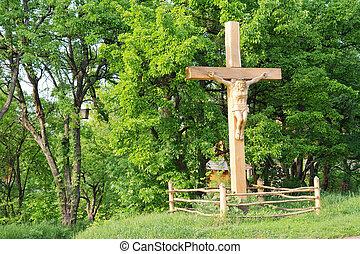 Jesus crucifixion on wooden cross