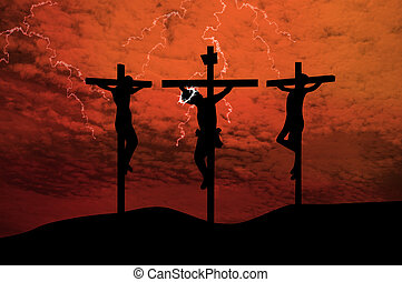 Silhouettes of the three crosses on a hill