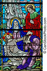 Jesus\\\' crucifixion - Stained glass window, in 19th...
