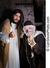 Jesus curing the leper - Bible scene historical reenactment ...