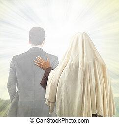 jesus, det ackompanjerar, den, själ, till, den, kungarike,...