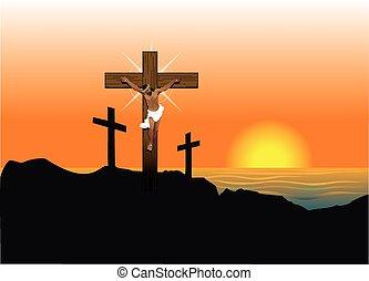 Jesus Easter Resurrection - Vector Illustration of Jesus...