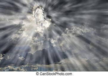 jesus, em, céu, nuvens, com, raios luz