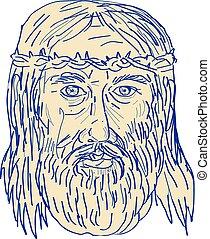 Jesus Face Crown of Thorns Drawing - Illustration of Jesus...