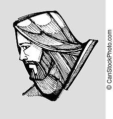 Jesus facing side
