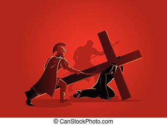 Jesus Falls for the First Time - Biblical vector ...