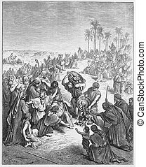 Jesus feeds the people - Picture from The Holy Scriptures,...
