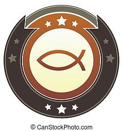 Jesus fish imperial button - Christian Jesus fish icon on...