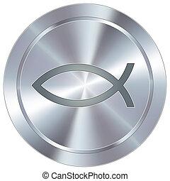 Jesus fish on industrial button - Christian Jesus fish icon...
