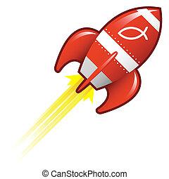 Jesus fish on retro rocket - Jesus fish icon on red retro...