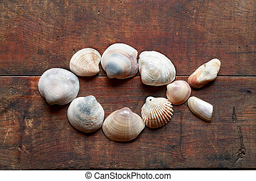 Jesus Fish - Jesus fish symbol made from shells on old...