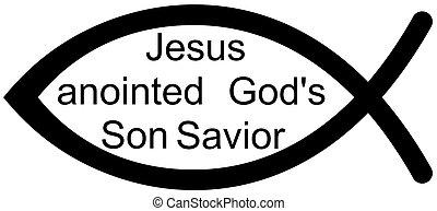Jesus fish - A Jesus fish with words