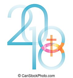 2018 new year with Jesus fish symbol with cross. Vector available.